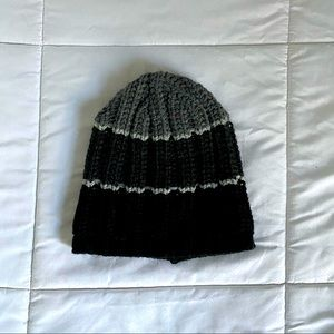 Gray and black striped knit beanie